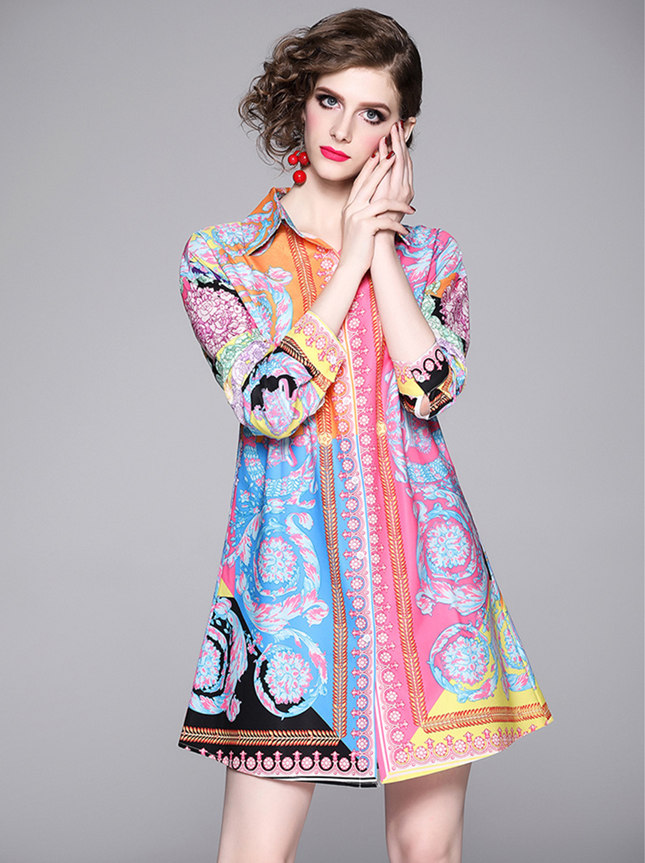 Charming Wholesale Flowers Long Sleeve Shirt Dress