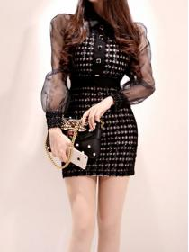 Korean style  Hip-full Gauze Elegance Dress