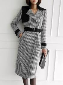 Retro style Plaid Noble long Coat