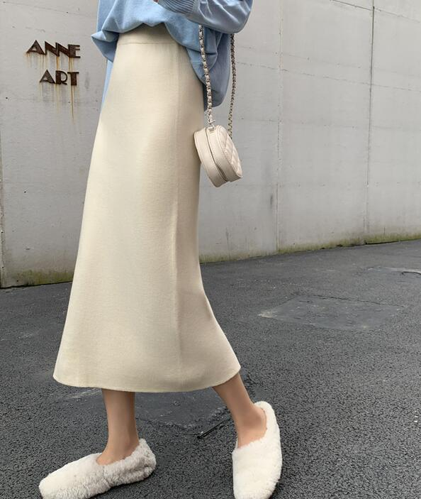 On Sale Open Fork Pure Color Skirt