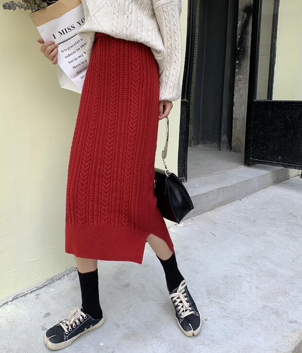 On Sale Pure Color Knitting Skirt