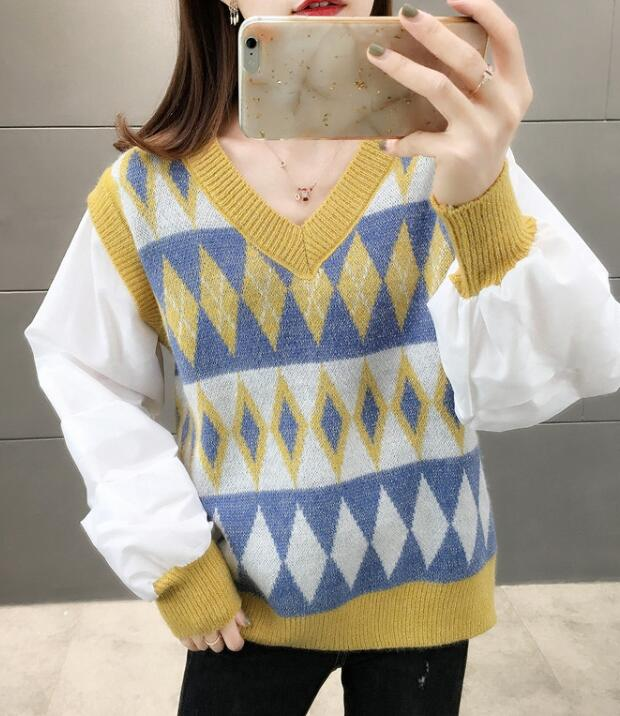 For Sale Loose Color Matching  Knitting Top