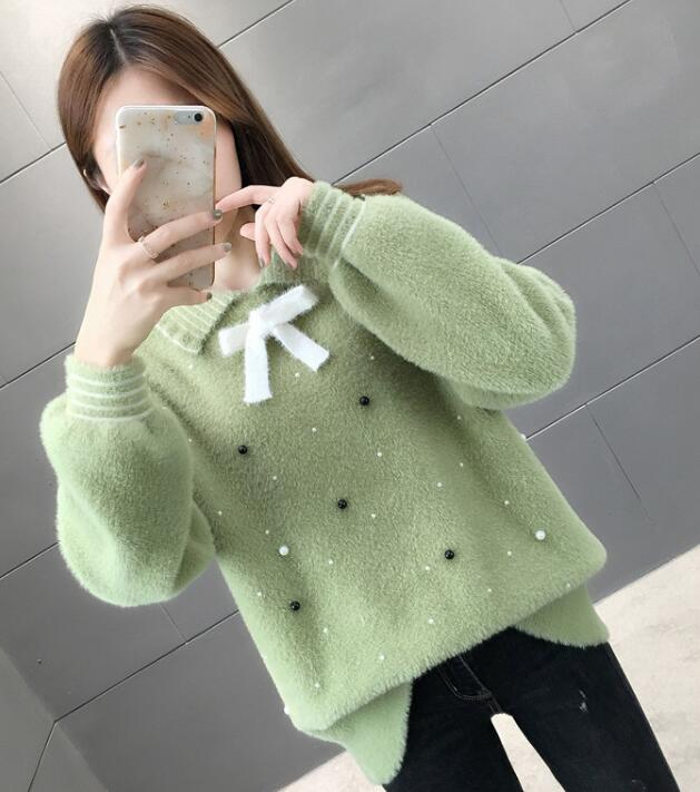 On Sale Pure Color Bead Matching Sweater