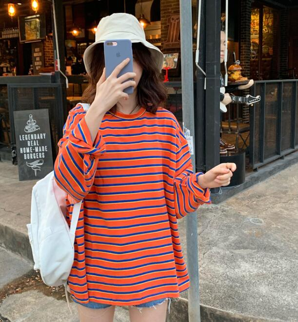 For Sale Loose Stripe Sweet T  Shirt