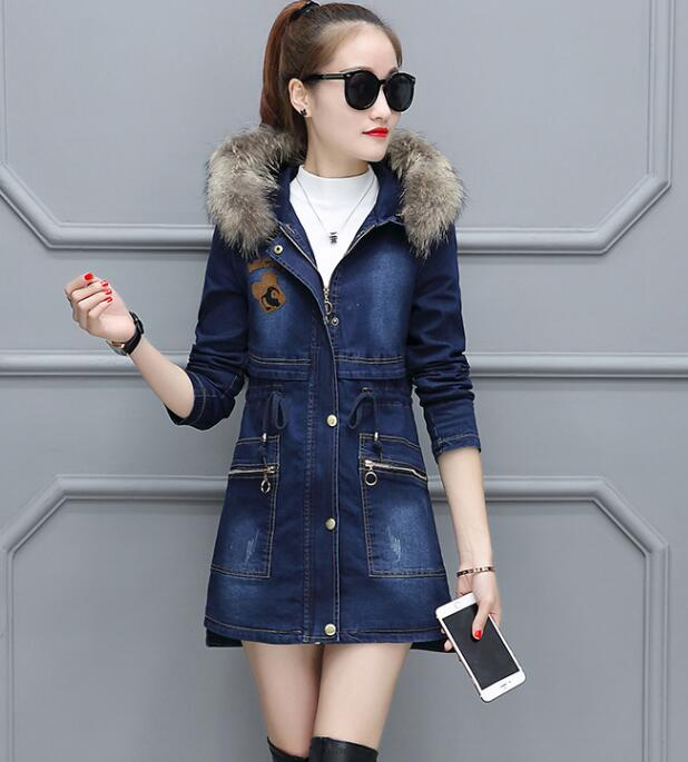 Korean Style Even Cap Zipper Matching Denim Coat