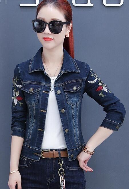 On Sale Slim Flower Denim Coat