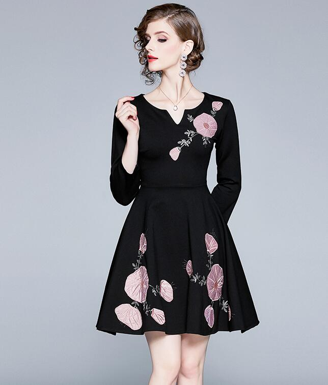 Out Let Flower Fashion Slim Dress