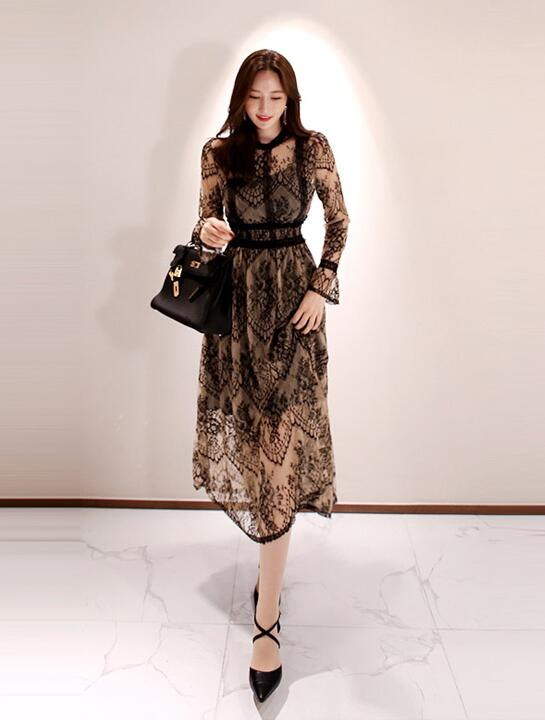 Korean Style Stand Collars Lace Hollow Out Dress