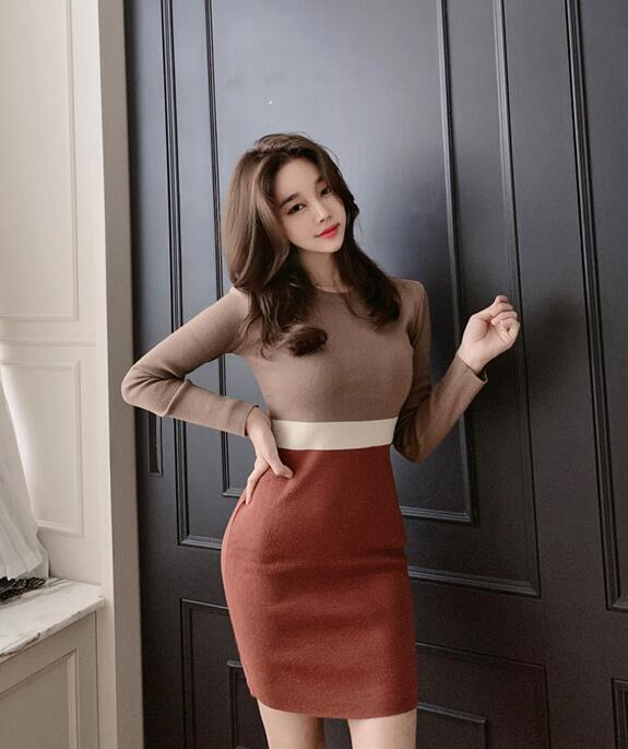 On Sale Color Matching Slim Knitting Dress