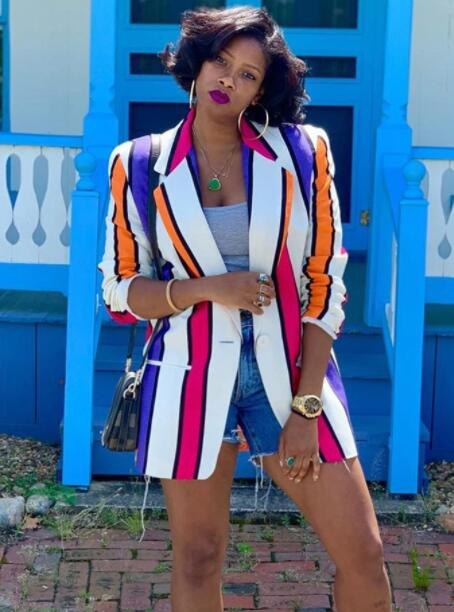 Chic Contrast Color Striped Blazers For Women