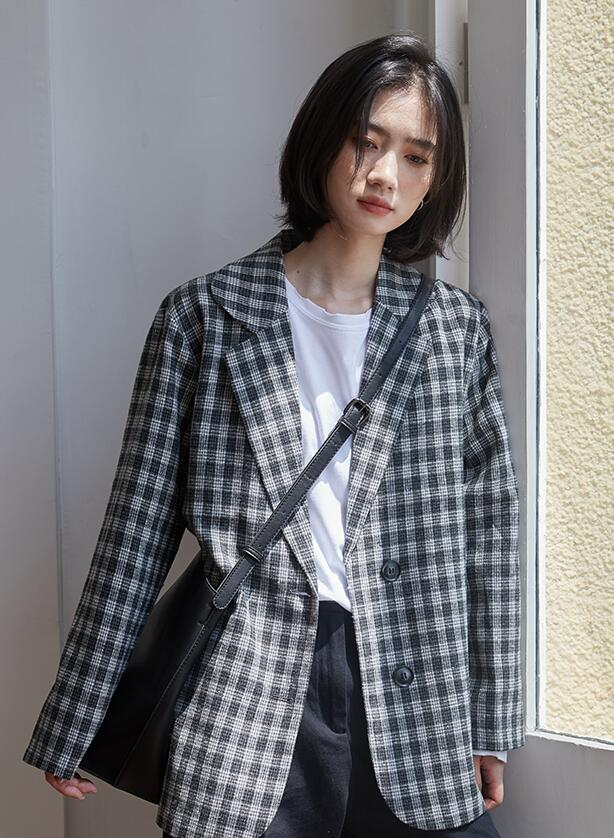 Out Let Grid Printing Fashion Blazer