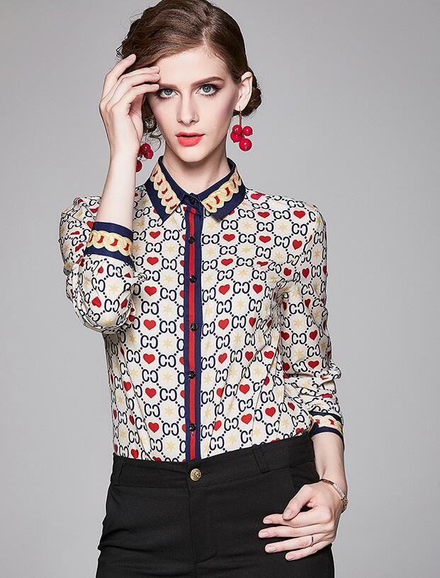 Out Let Doll Collars Printing Blouse