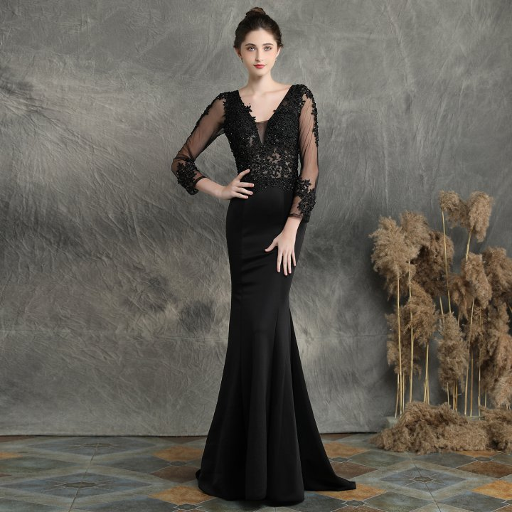 Bride beading evening dress long wedding dress