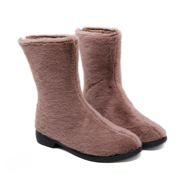 On Sale Pure Color Soft Fur Boots