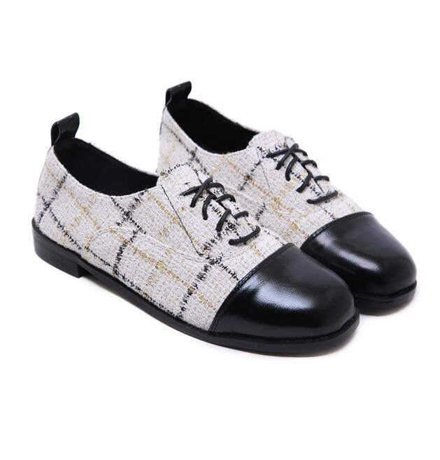 Korean Style Lace Up Color Matching Shoes