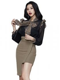 Winter fashion Leopaed print Hip-full Dress