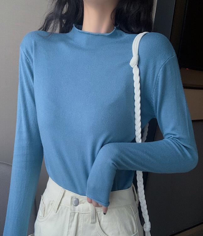On Sale Pure Color  Simple Knitting Top