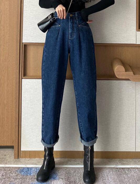 On Sale Tall Waist Pure Color Denim Pants
