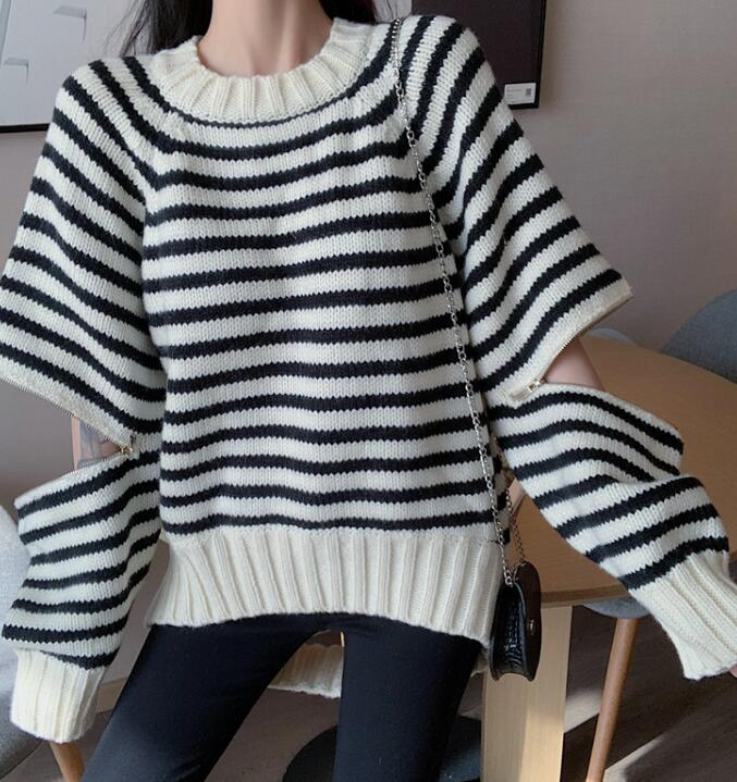 On Sale Stripe Hollow Out Sweater
