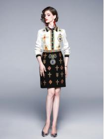 In vogue Polo collar Fashion Blouse+Embroidery Dress