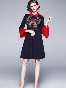On sale Polo collar Embroidery dress