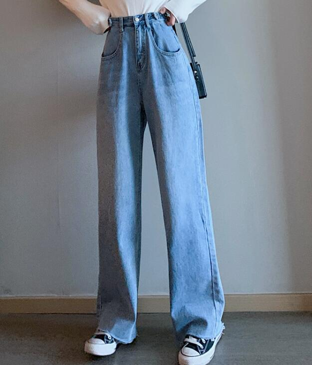 For Sale Tall Waist Pure Color Denim  Pants