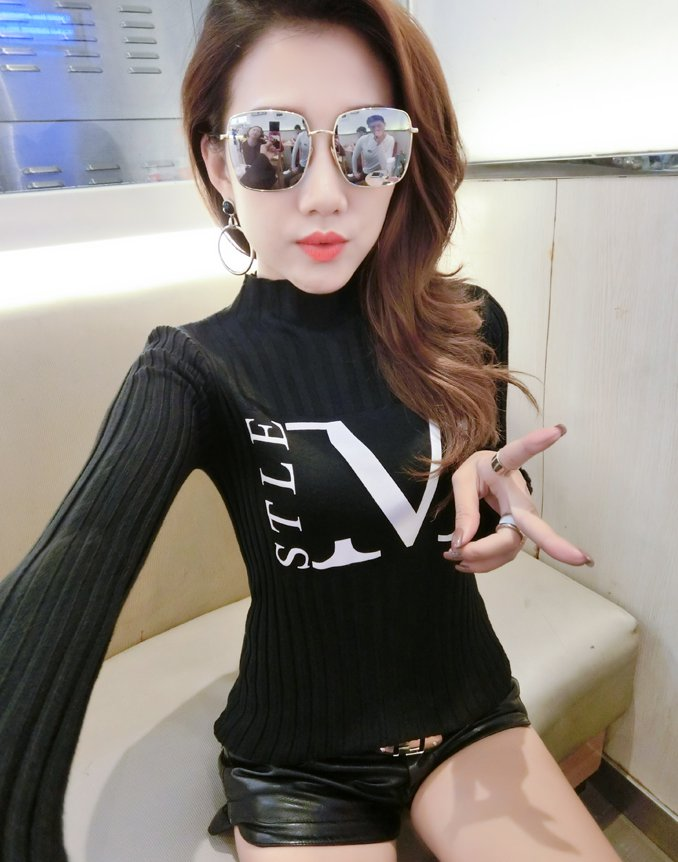 Pullover bottoming long sleeve slim all-match sweater for women