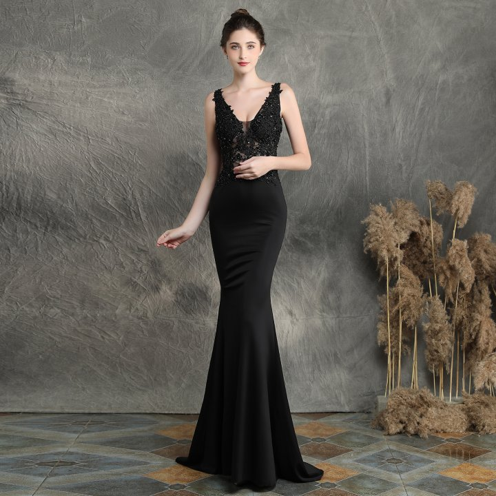 Long bride dress slim wedding evening dress