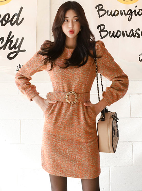 Winter New Round Neck Fitted Waist Long Sleeve Dress