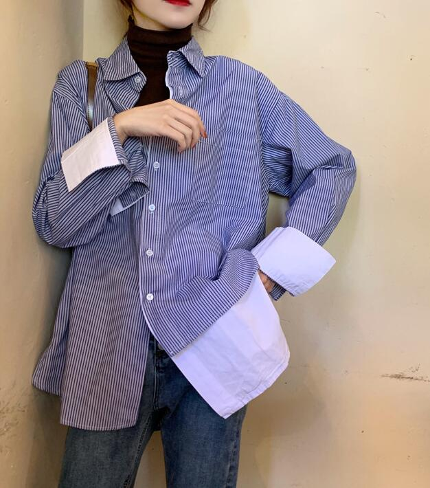 Discount Loose Stripe Simple Blouse