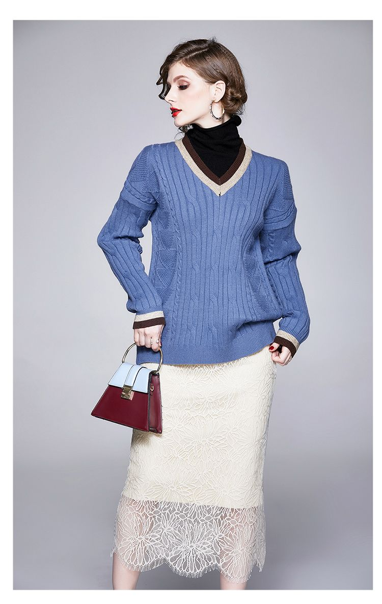On Sale High Collars Knitting Top+Lace Matching Dress