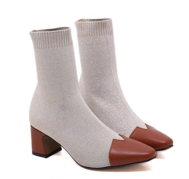 On Sale Color Matching Point Toe Boots