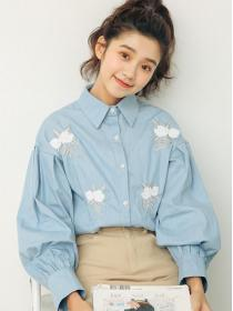 Sweet fashion Embroidery Flower print Blouse