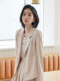 Sweet fashion Pure color Blazer +Mid-length skirt
