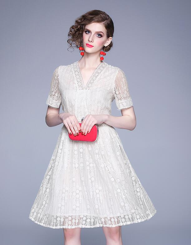European Style V  Collars Lace  Dress
