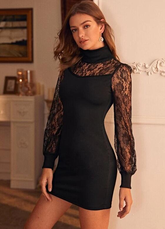European Style Lace Hollow Out Dress