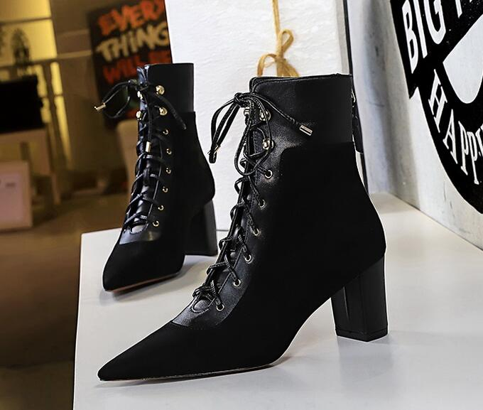 European Style Lace Up Color Matching Boots