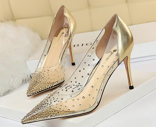 Korean Style Point Toe Sequins Matching Shoes