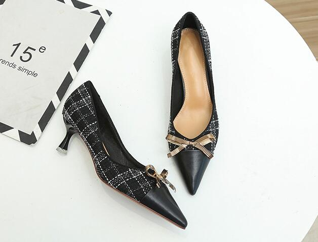 On Sale Bowknot Matching Grid Point Toe Shoes