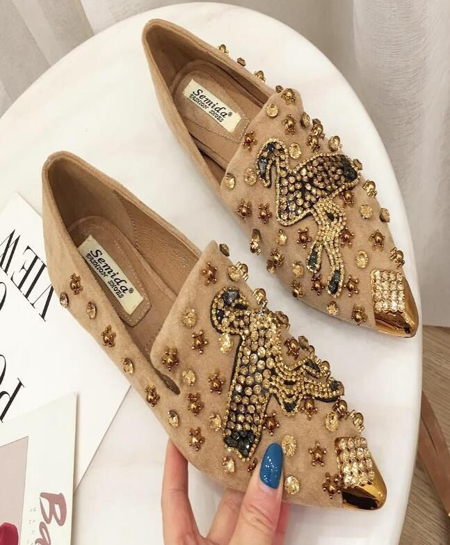 For Sale Point Toe Sequins Matching Fashion Shoes