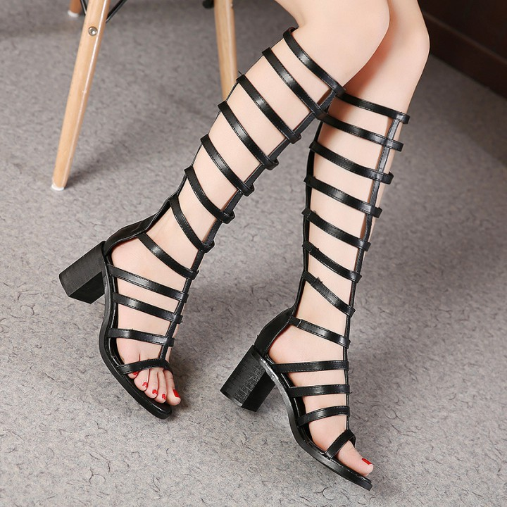 European style high-heeled shoes thick rome sandals for women
