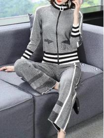 Outlet Elegant Lady Knitted Loose-fitting Two pieces suits