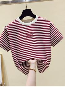 On sale Stripes Pure cotton Short sleeve T-shirt