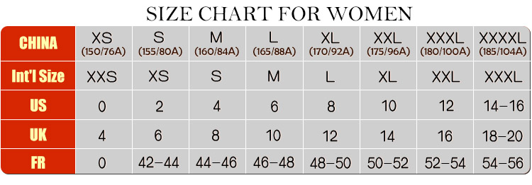Size Chart Wholesale Clothing Online From China Cheap
